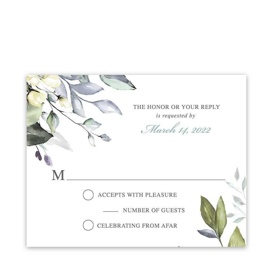 Greenery Wedding RSVP Response Cards