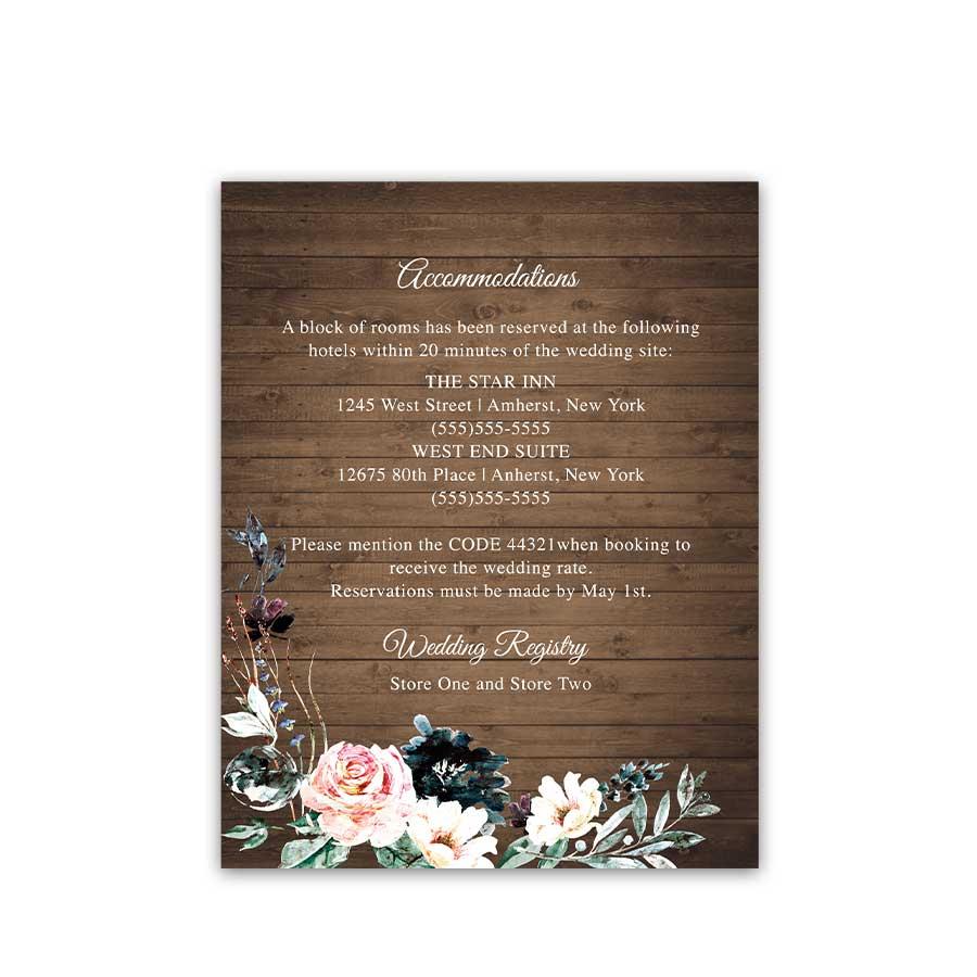 Lantern Wedding Accommodations Cards