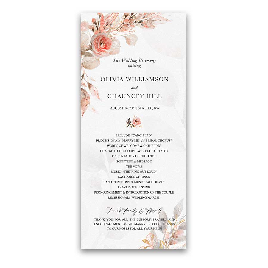 Floral Wedding Program Template Coral Watercolors with Peach Accents