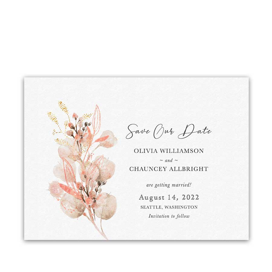 Coral Floral Save the Date Cards for Weddings
