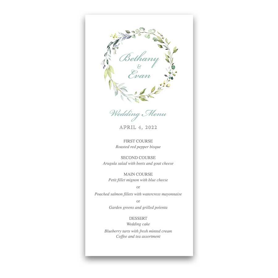 Wedding Reception Food Menu with Greenery