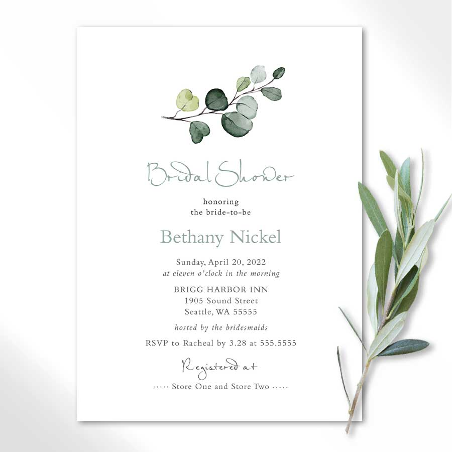 Personalized Bridal Shower Invitations with Greenery