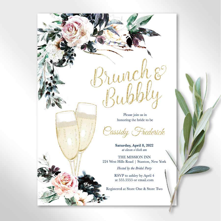 Brunch and Bubbly Wedding Shower Invites