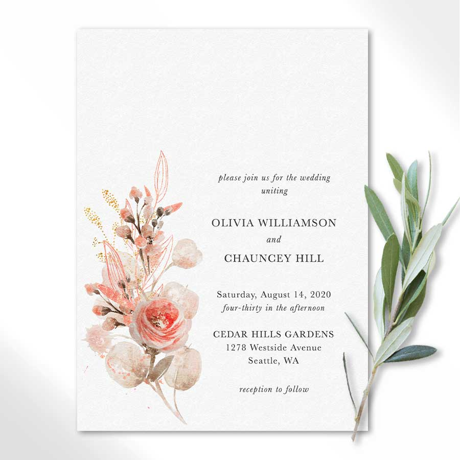 Coral Peach Wedding Invitations with Watercolor Florals