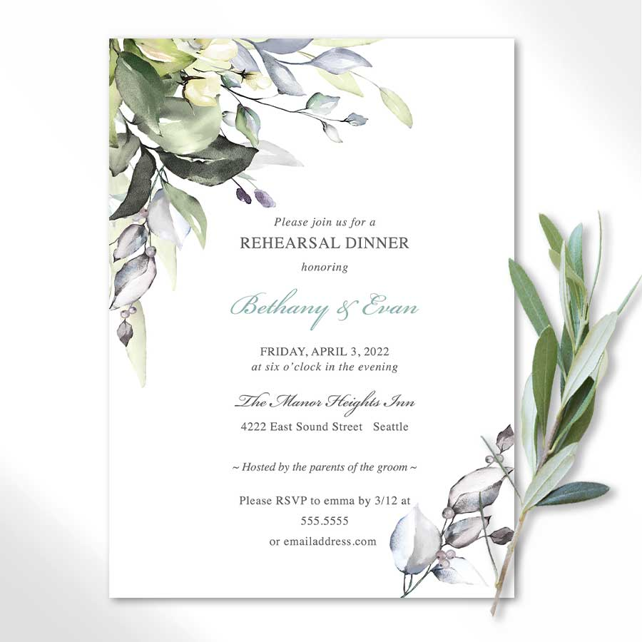 Wedding Rehearsal Dinner Invitation Casual Greenery