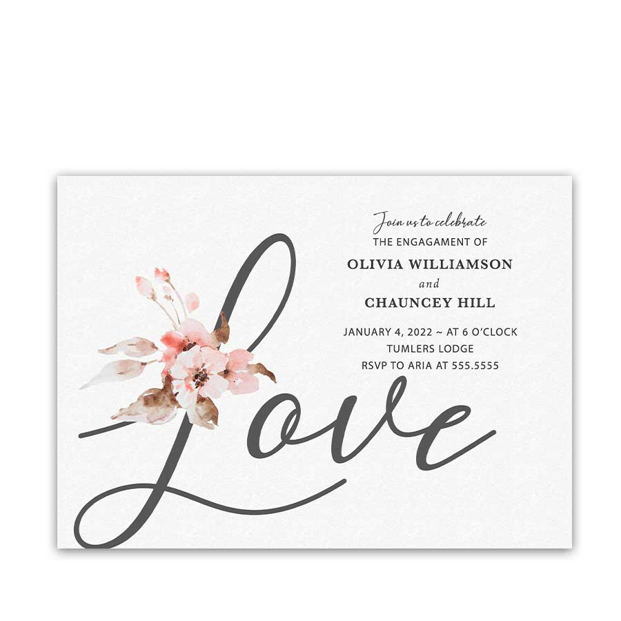 Engagement Party Invitation Card Modern Calligraphy and Peach Florals