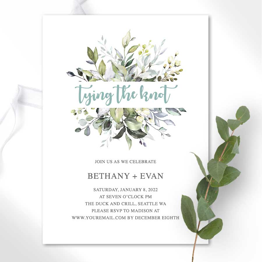 Personalized Engagement Party Invitations Greenery