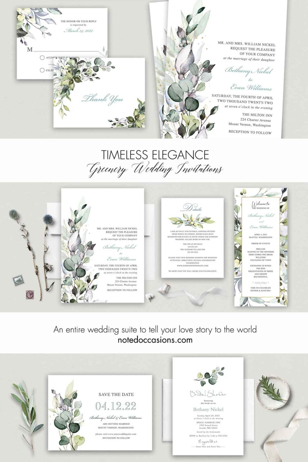 Wedding Invitations with Watercolor Greenery