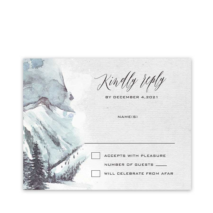 Mountain Winter Wedding RSVP with Evergreens
