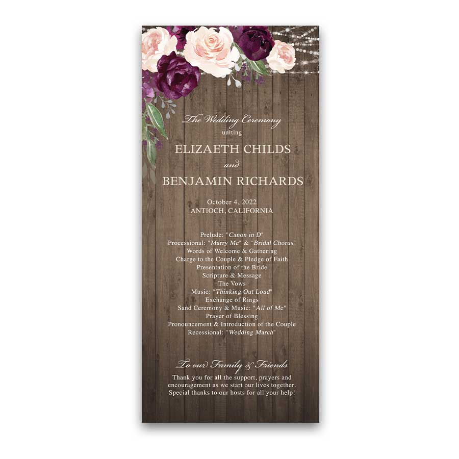 Plum Floral Wedding Programs with Watercolor Flowers