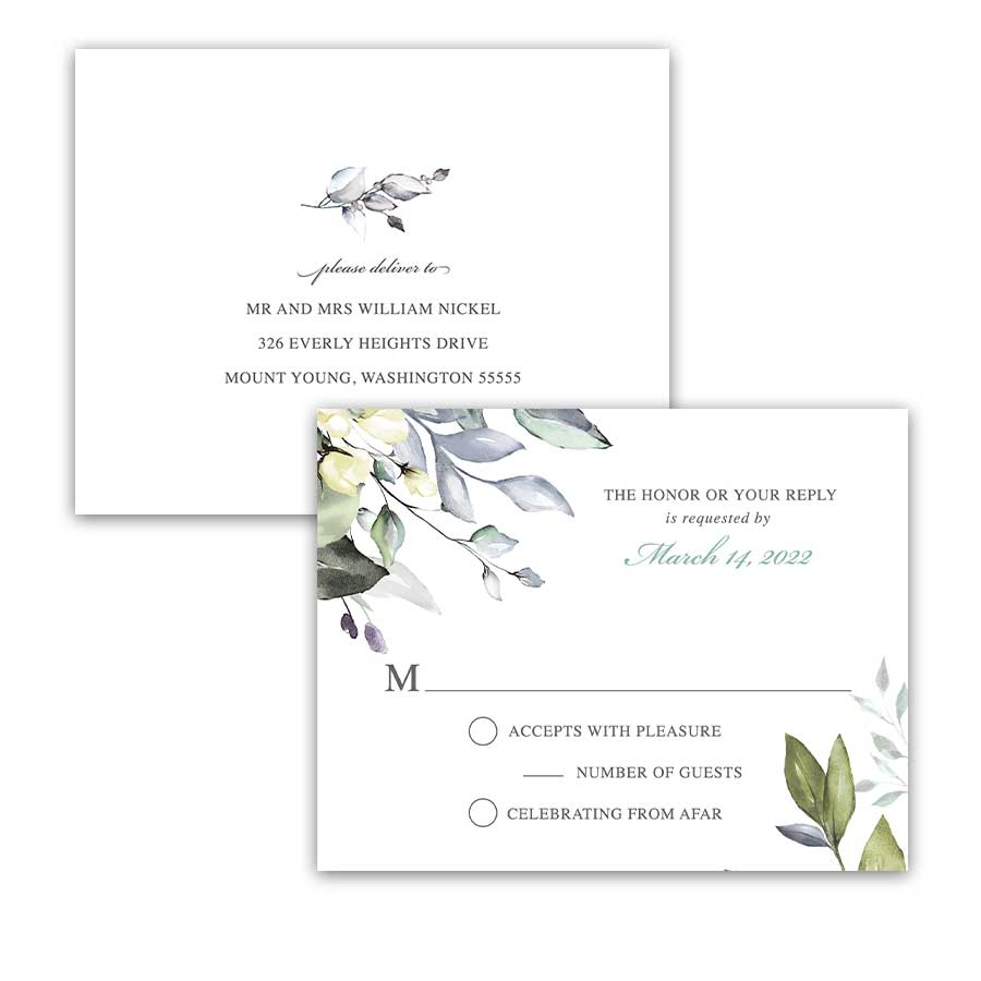 Wedding RSVP Postcard Greenery and Eucalyptus
