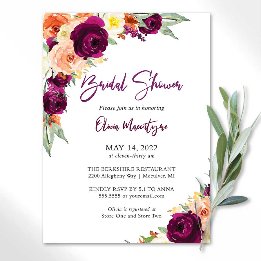 Floral Bridal Shower Invitations in Plum and Orange