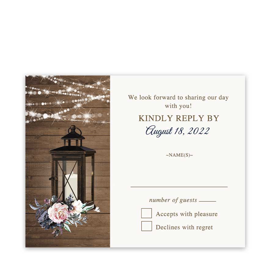 Wedding RSVP Cards Lantern and Flowers Design