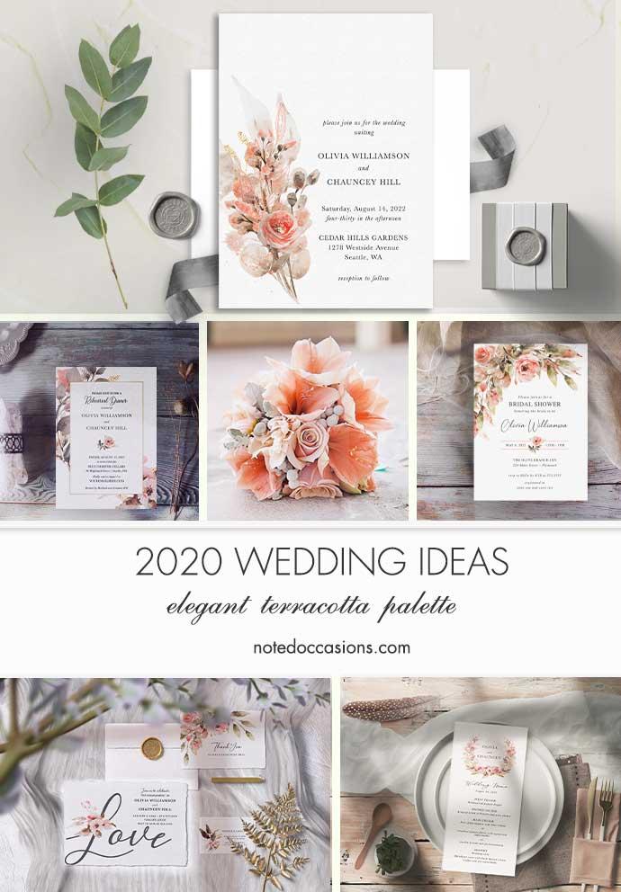 Coral Peach Wedding Invitations Terracotta Florals