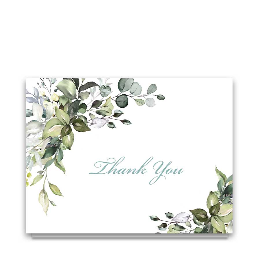 Greenery Thank You Cards for Weddings