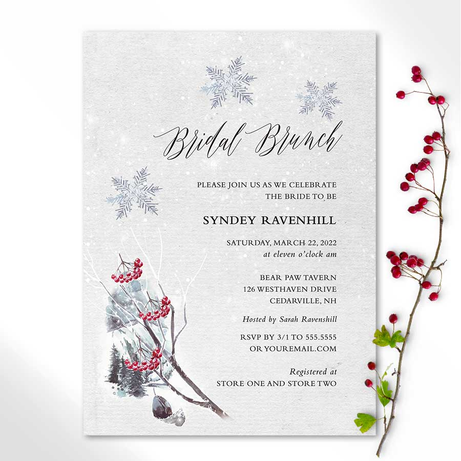 Winter Bridal Shower Invitations Woodland Forest Theme