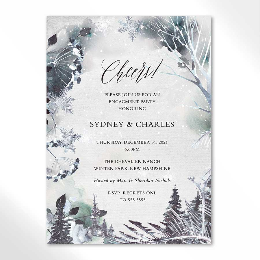 Winter Engagement Party Invitation Woodland Theme