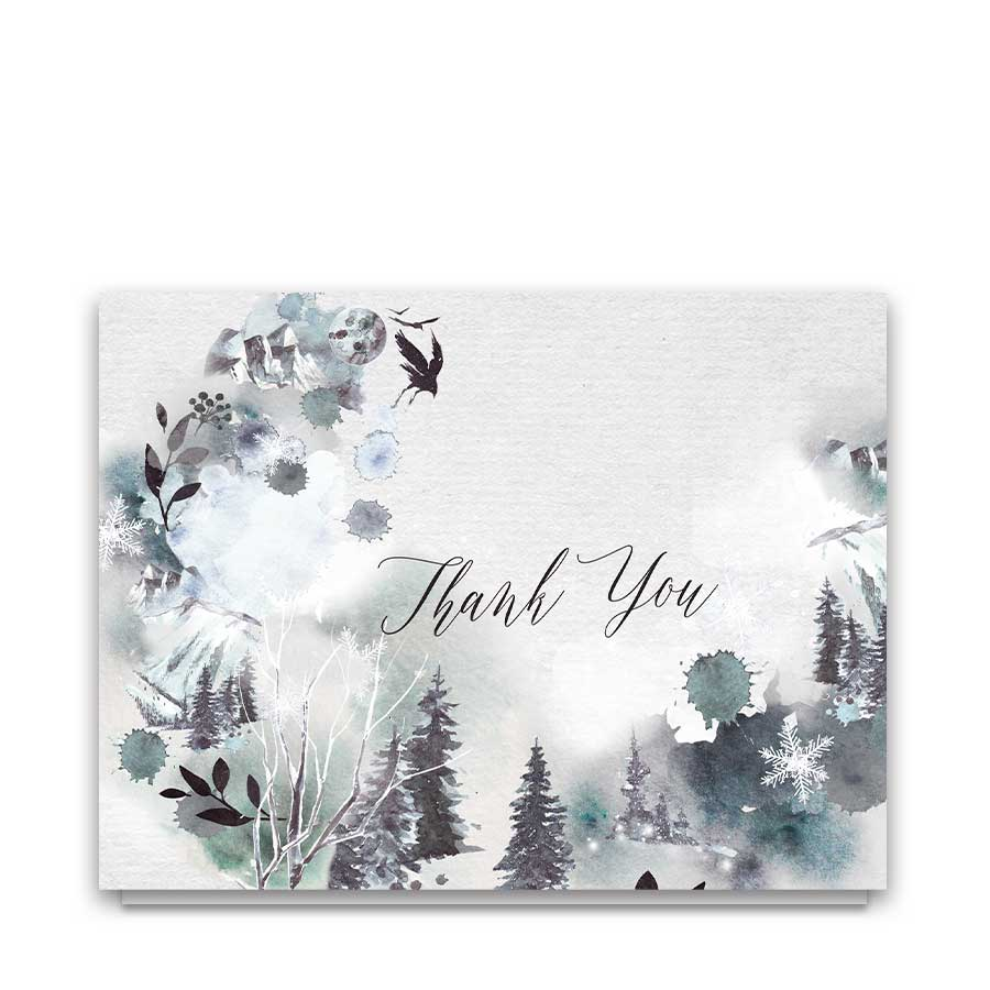 Forest Winter Thank You Cards for Weddings