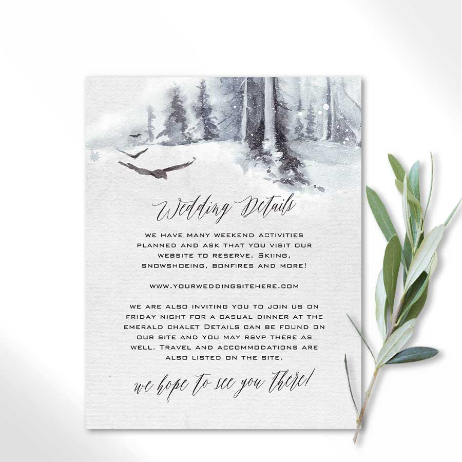 Winter Forest Wedding Details Card