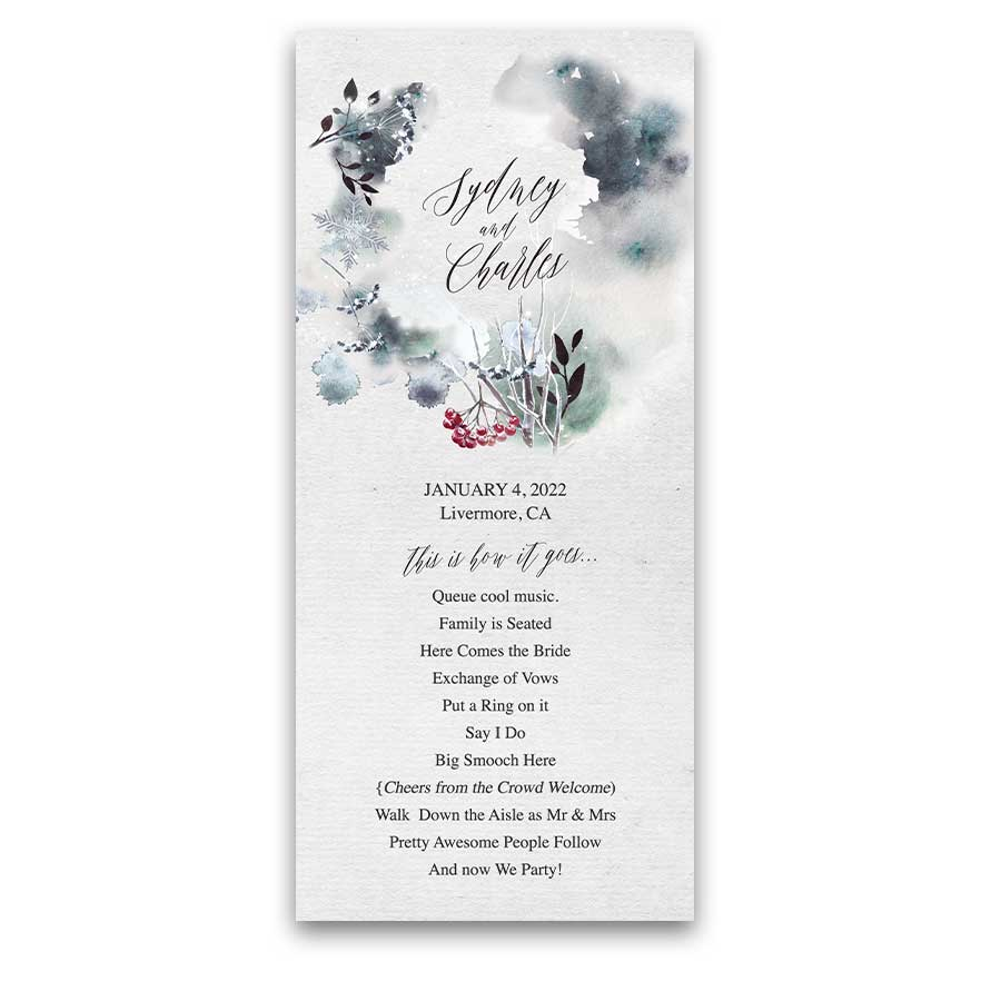 Winter Forest Woodland Wedding Program