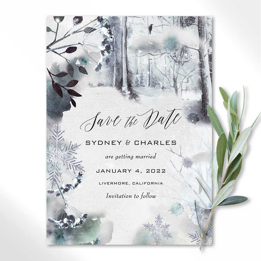 Winter Save the Date Cards Woodland Forest