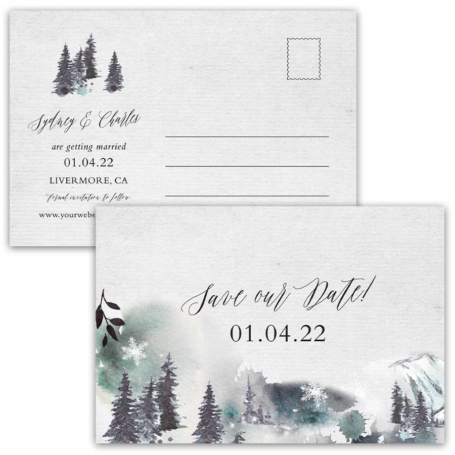 Winter Save the Date Postcards Woodland Forest