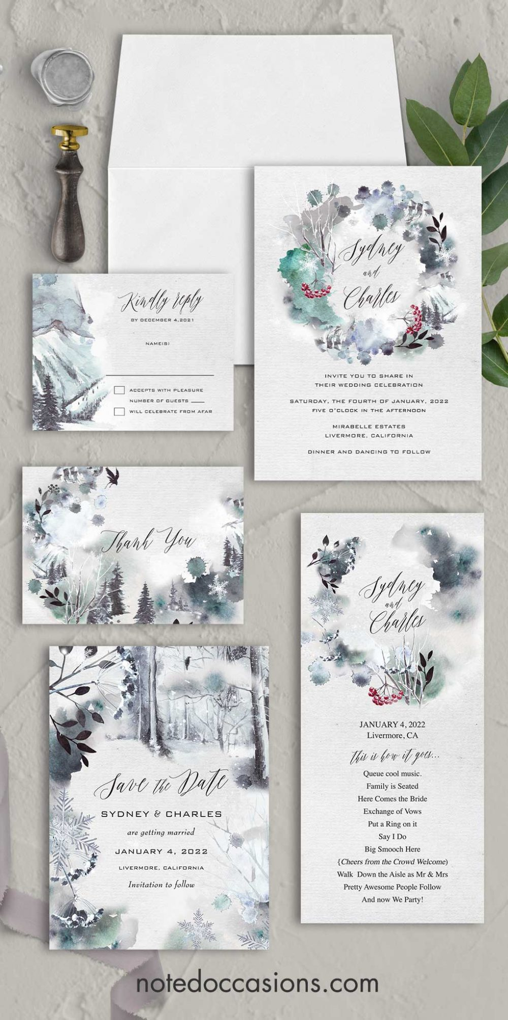 Winter Forest Wedding Invitation Wonderland Theme