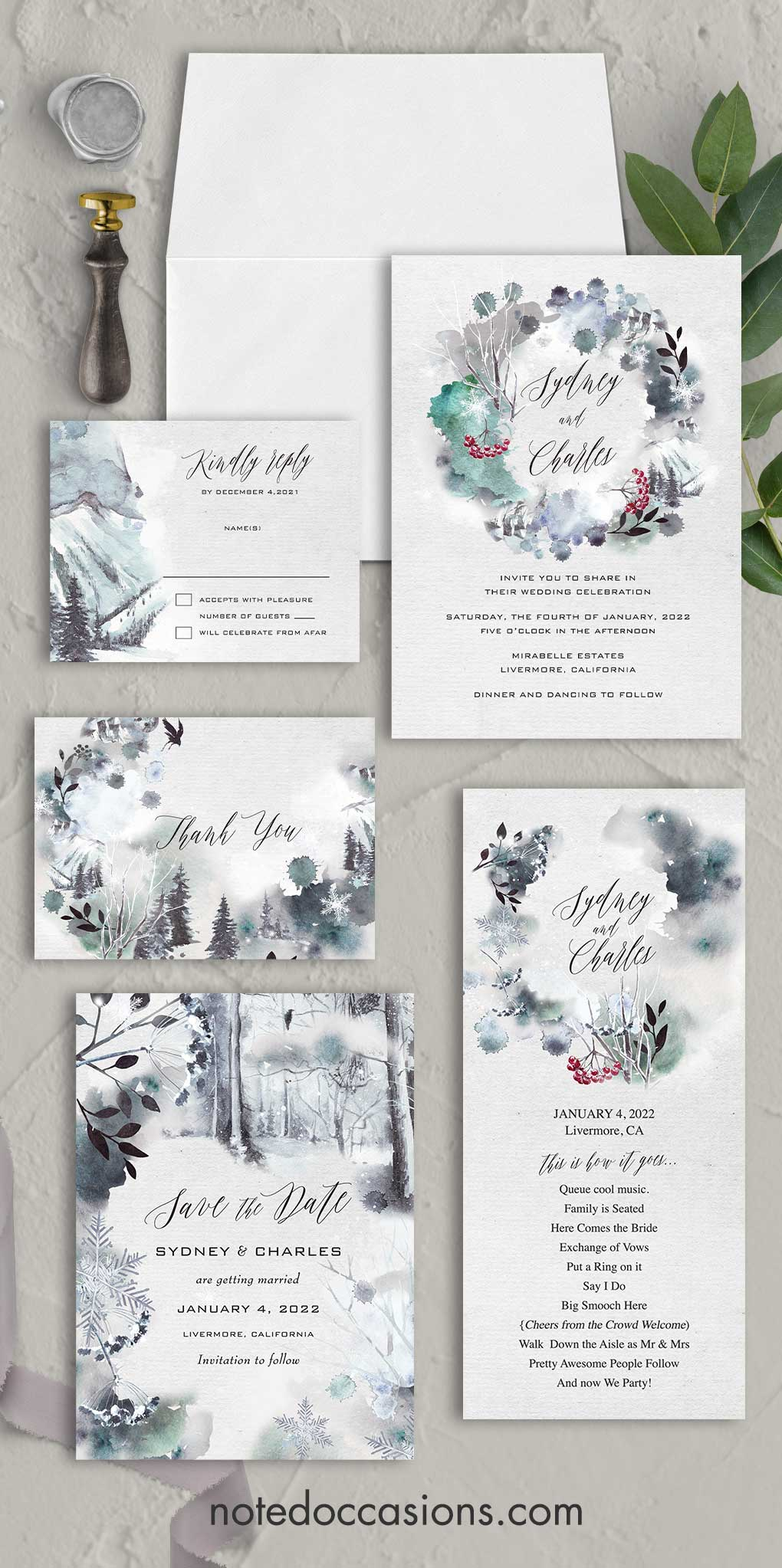 Winter Wedding Tree Wedding Winter Invite Outdoor Nature Wedding Forest Wedding Invitation Christmas Rustic Wedding Collection 039