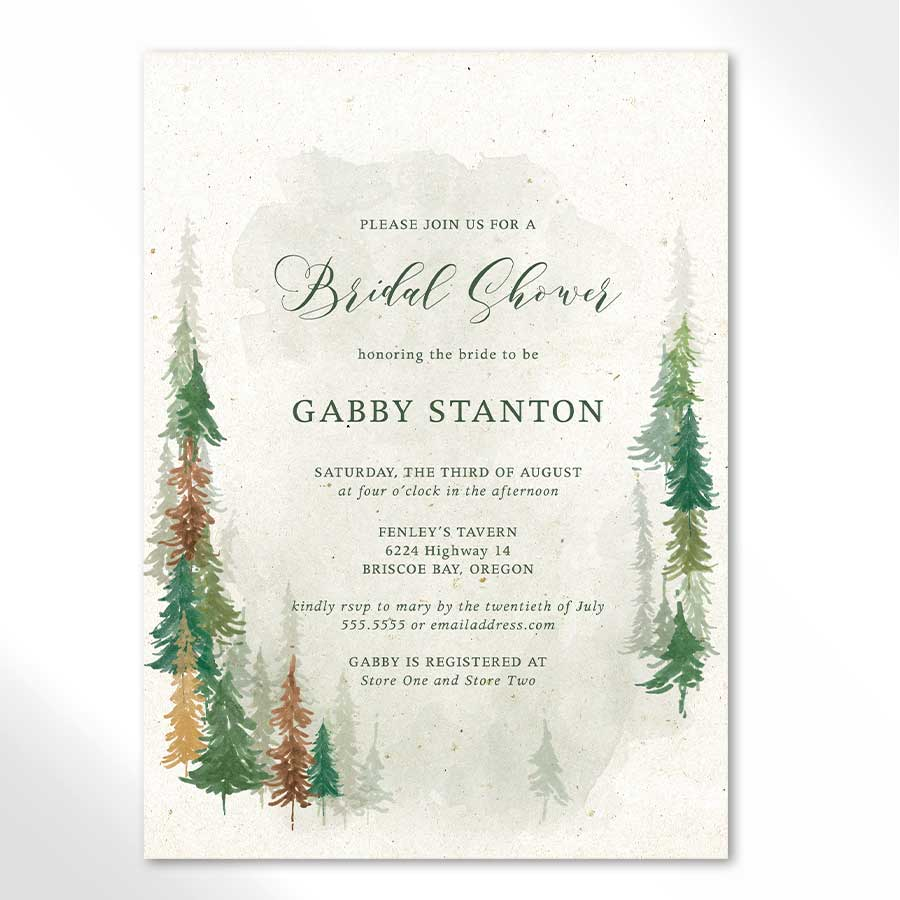 Fall Bridal Shower Invitations Woodland