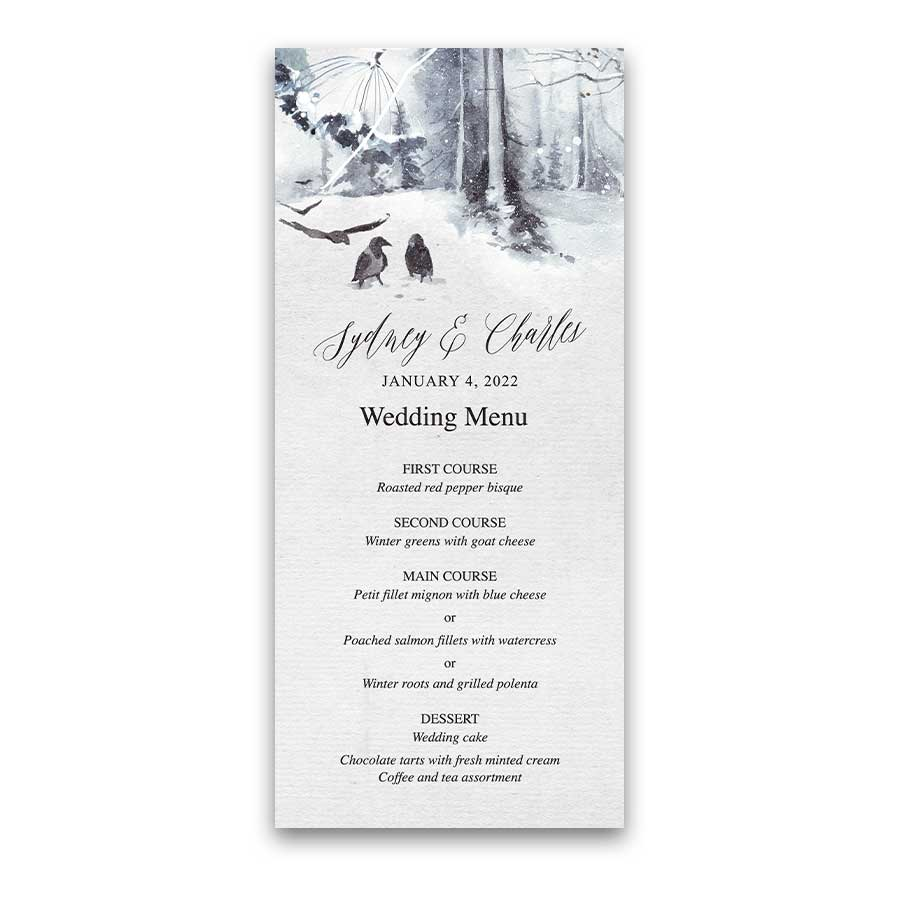 Winter Wonderland Wedding Menu