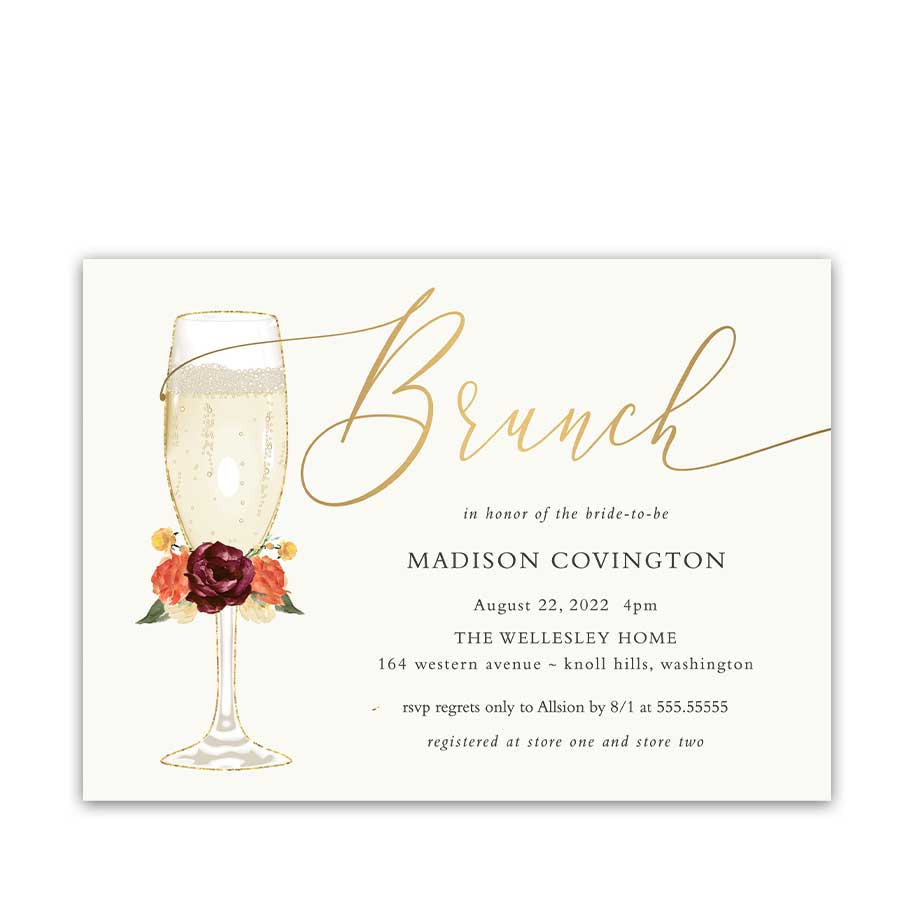 Brunch & Bubbly Bridal Shower Invitations