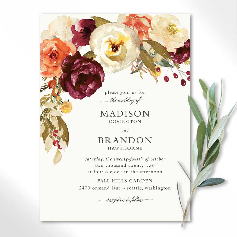 Plum and Orange Fall Wedding Invitations
