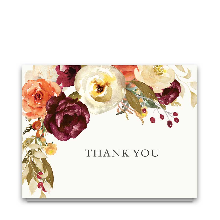 Wedding Thank You Card Plum Orange Florals
