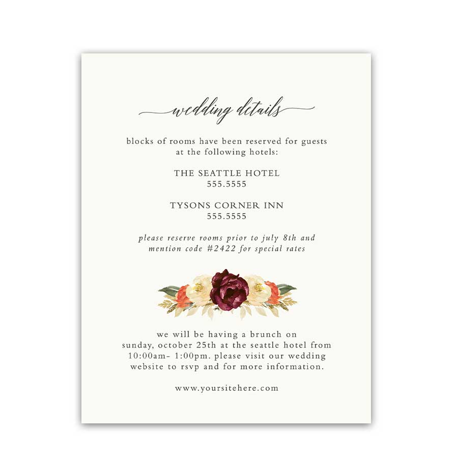 Hotel Information Wedding Insert Cards