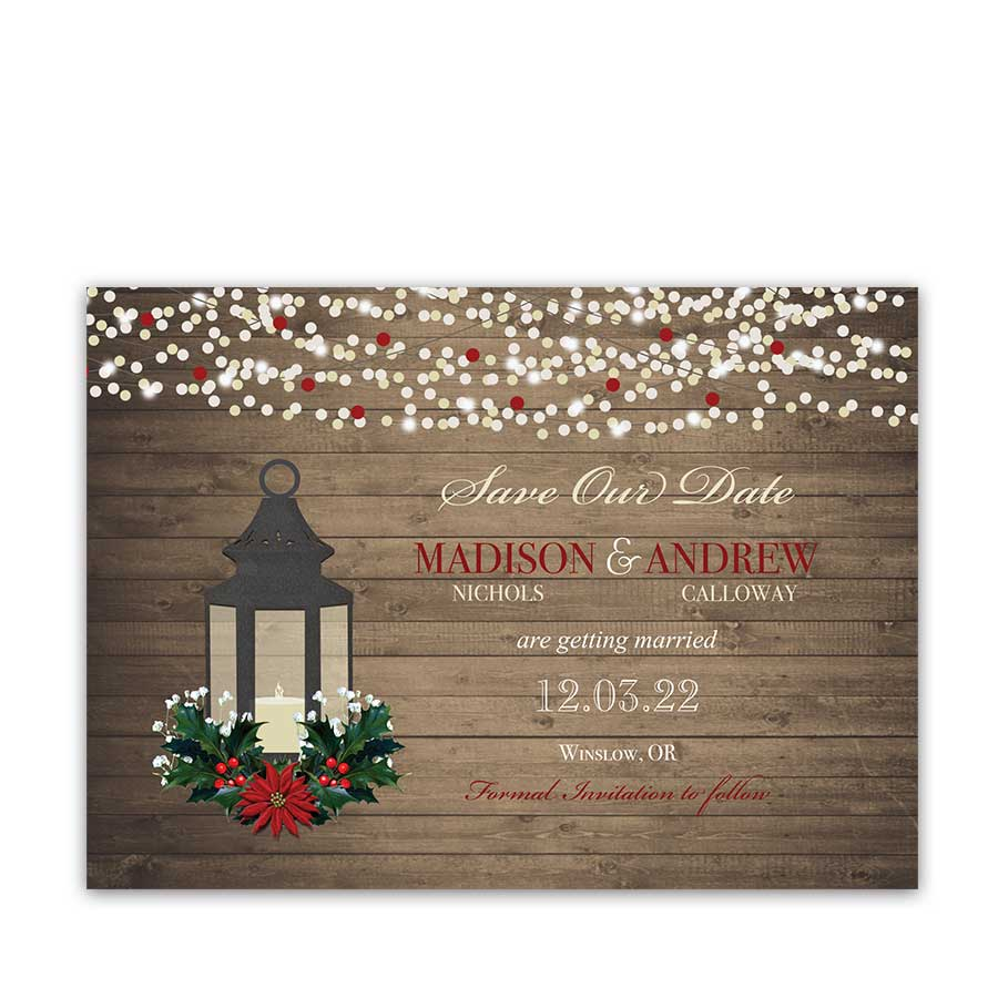Winter Save the Date Card Lantern
