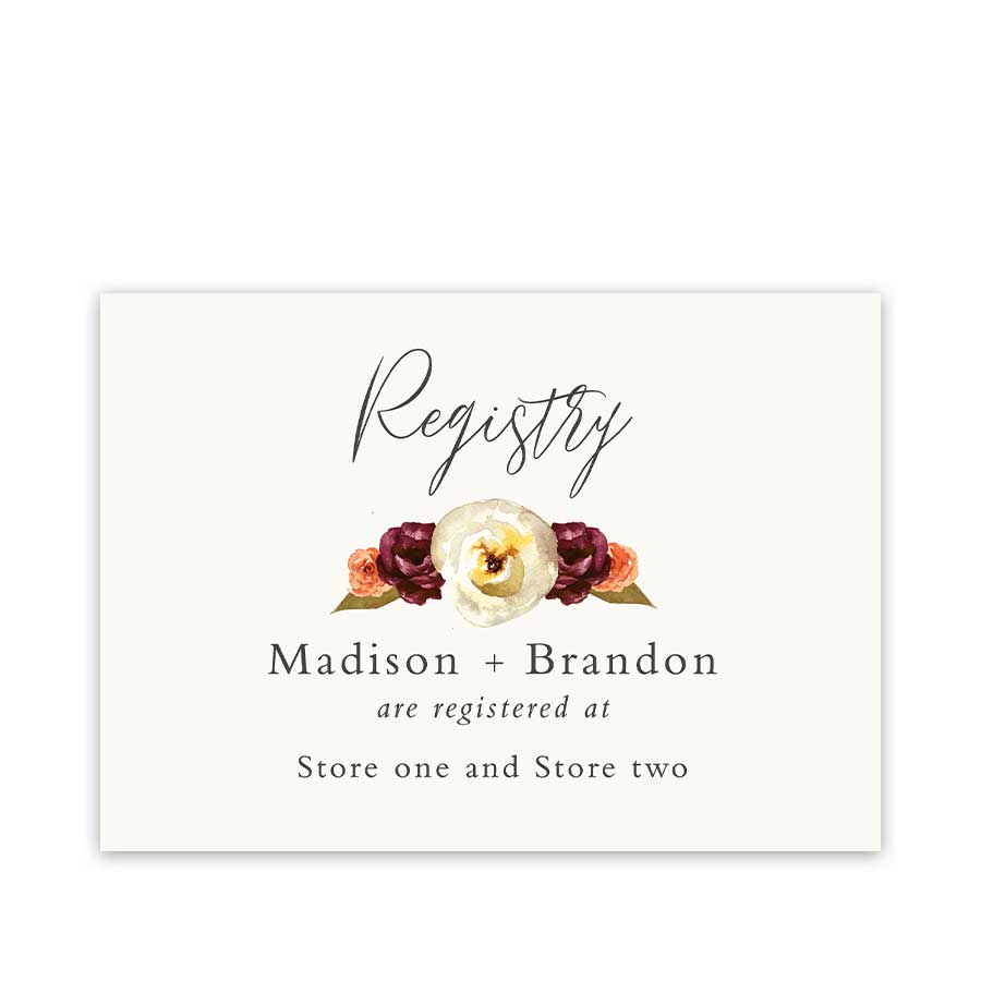 Wedding Registry or Reception Insert Cards