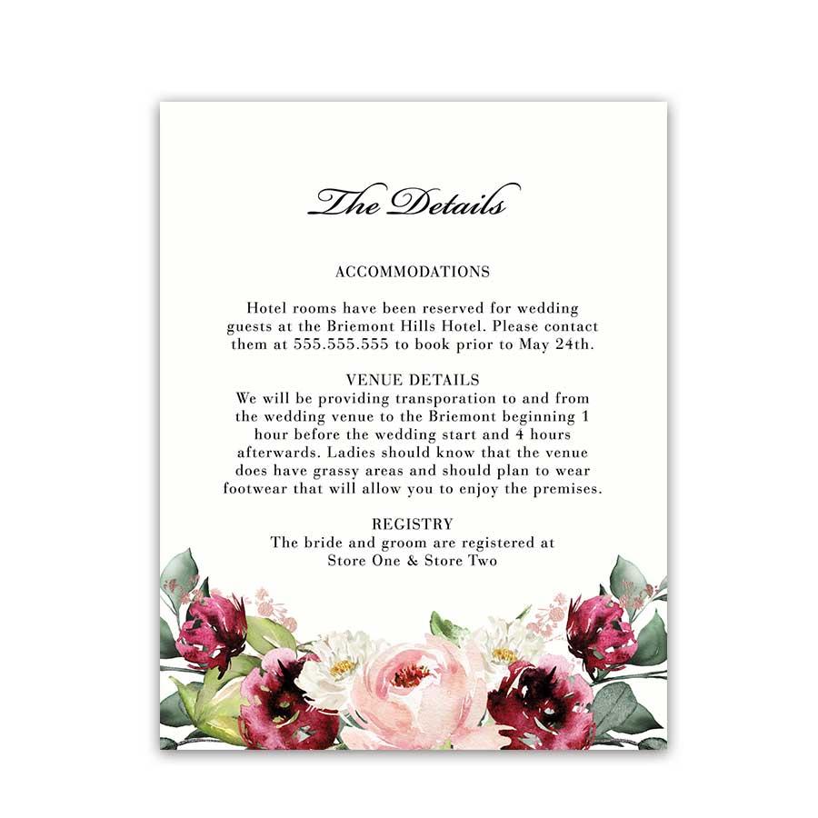 Wedding Accommodation Information Insert