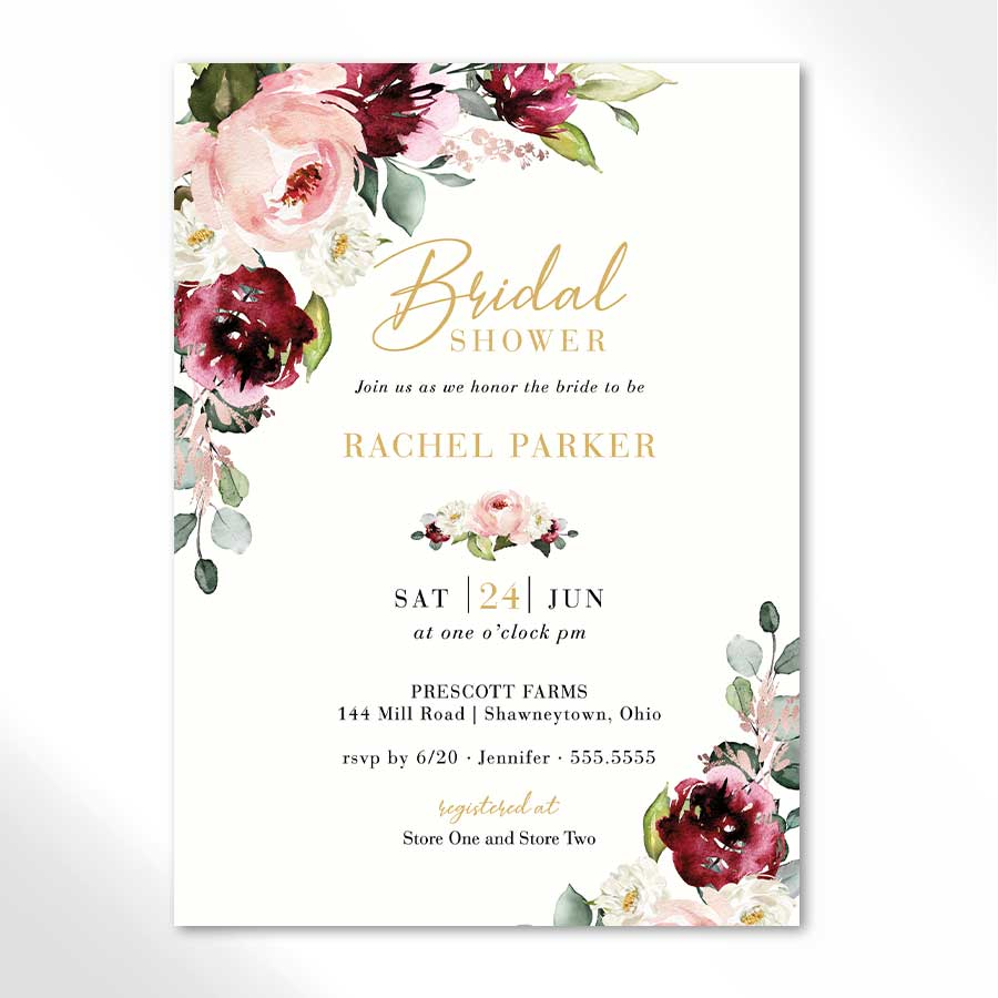 Floral Wedding Shower Invitations