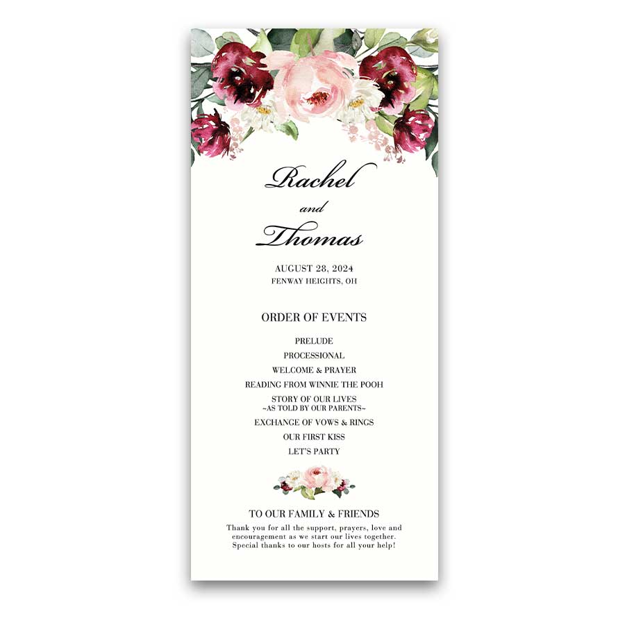 Floral Wedding Program Cards