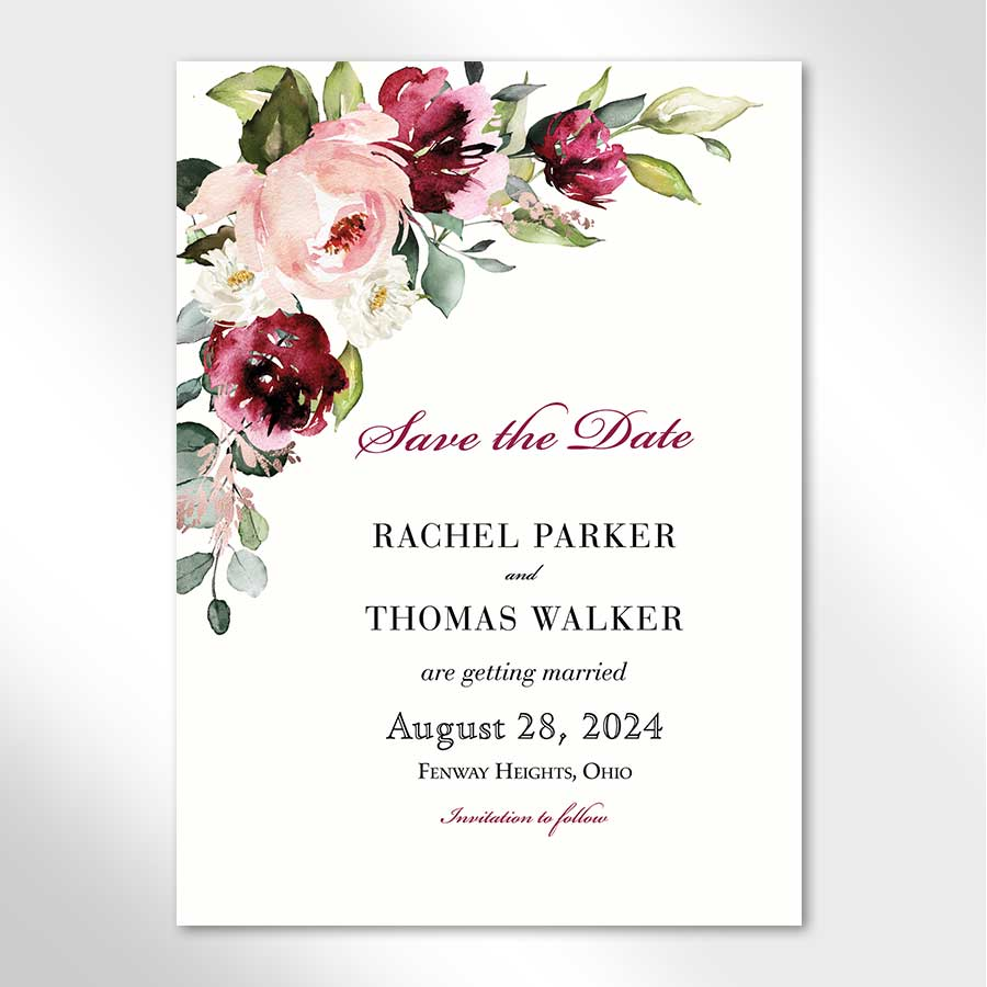 Save the Date Card with Plum Florals