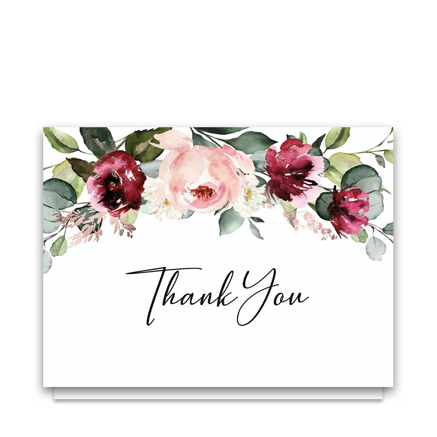 Thank You Cards For Weddings Plum Floral
