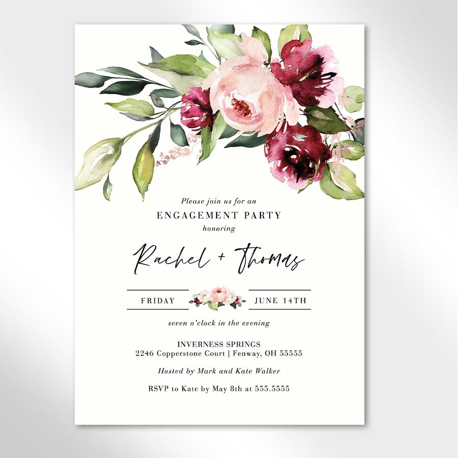Berry Floral Wedding Engagement Party Invitation