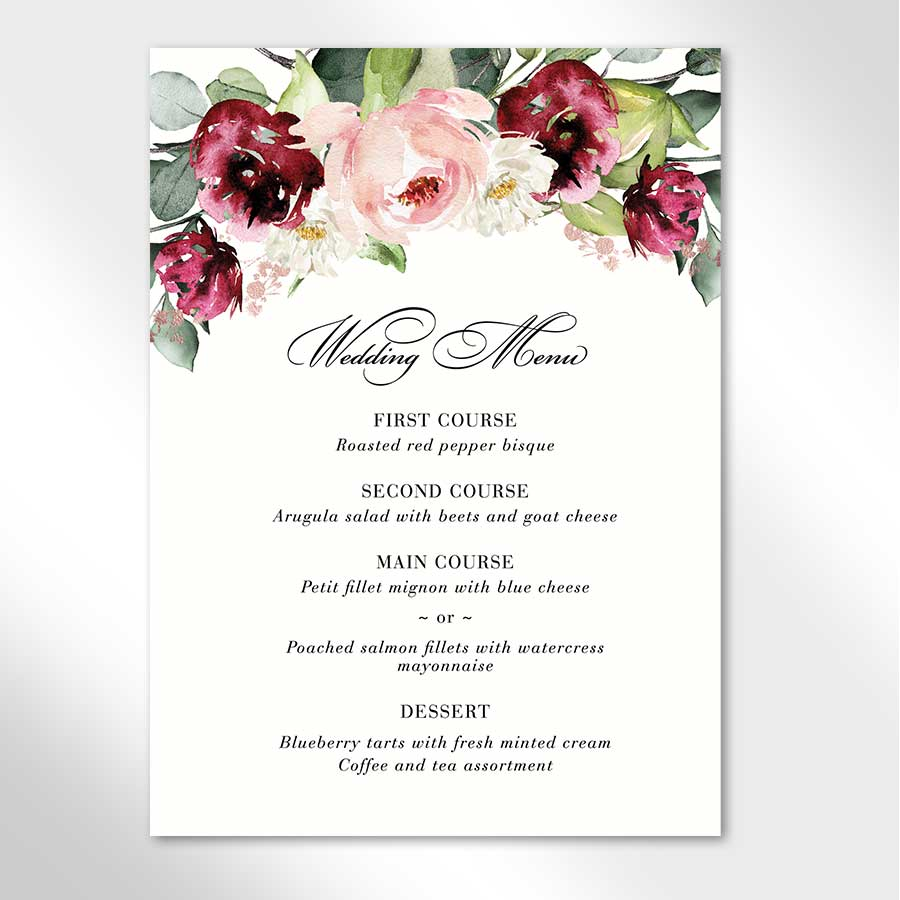 Wedding Menu Cards Boysenberry
