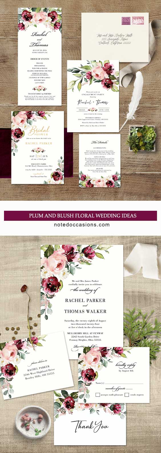 Plum Floral Wedding Invitation With Blush Accents