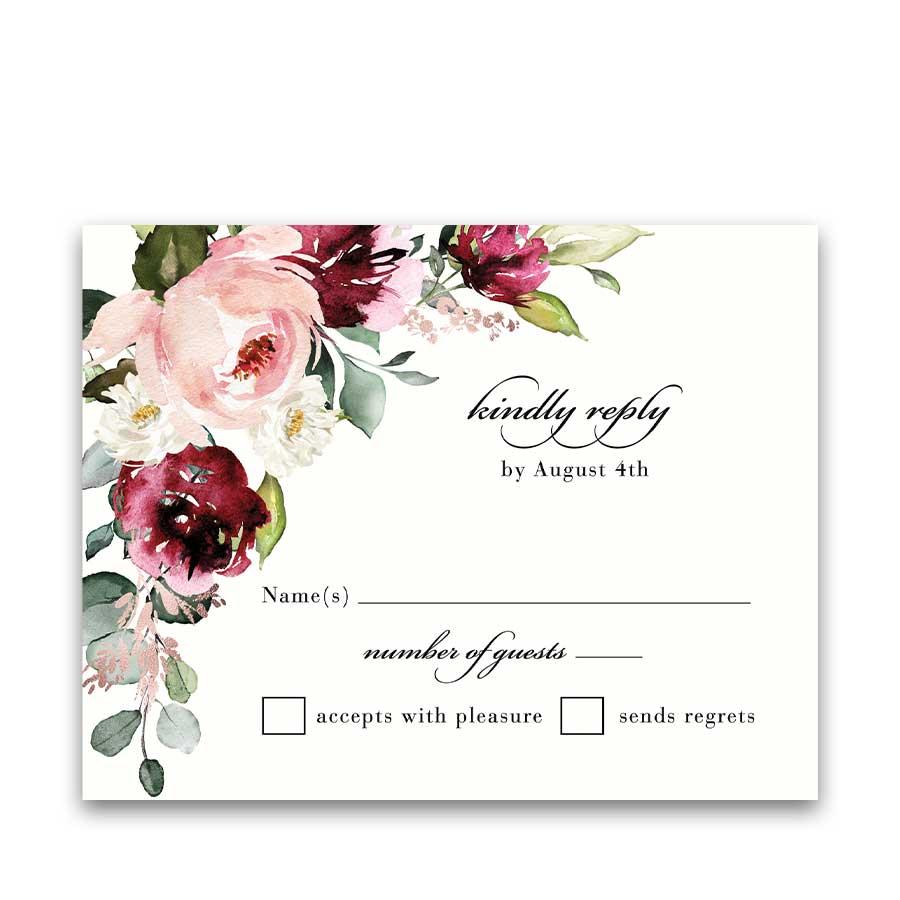 Boysenberry Floral Wedding RSVP Card