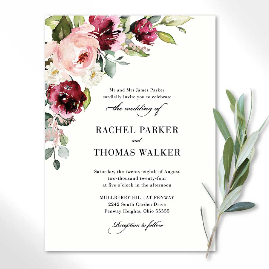 Plum Floral Wedding Invitation