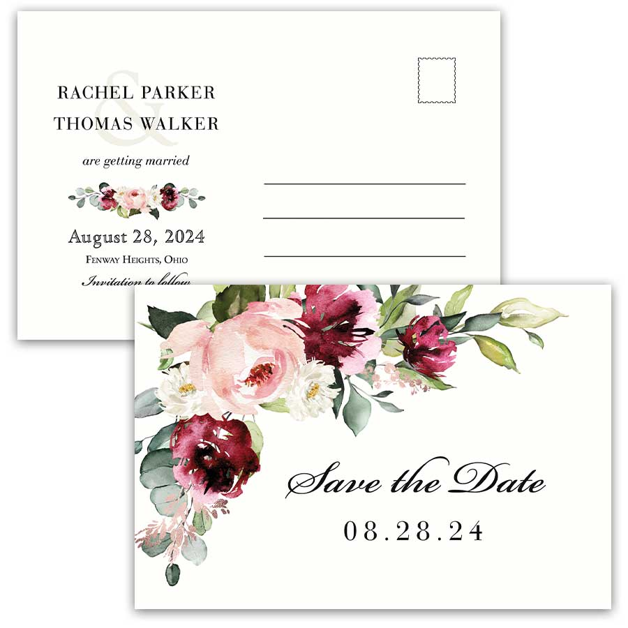 Plum Wedding Save the Date Postcard