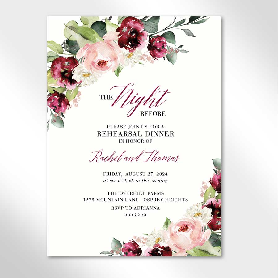 Floral Rehearsal Dinner Invitation Berry and Blush