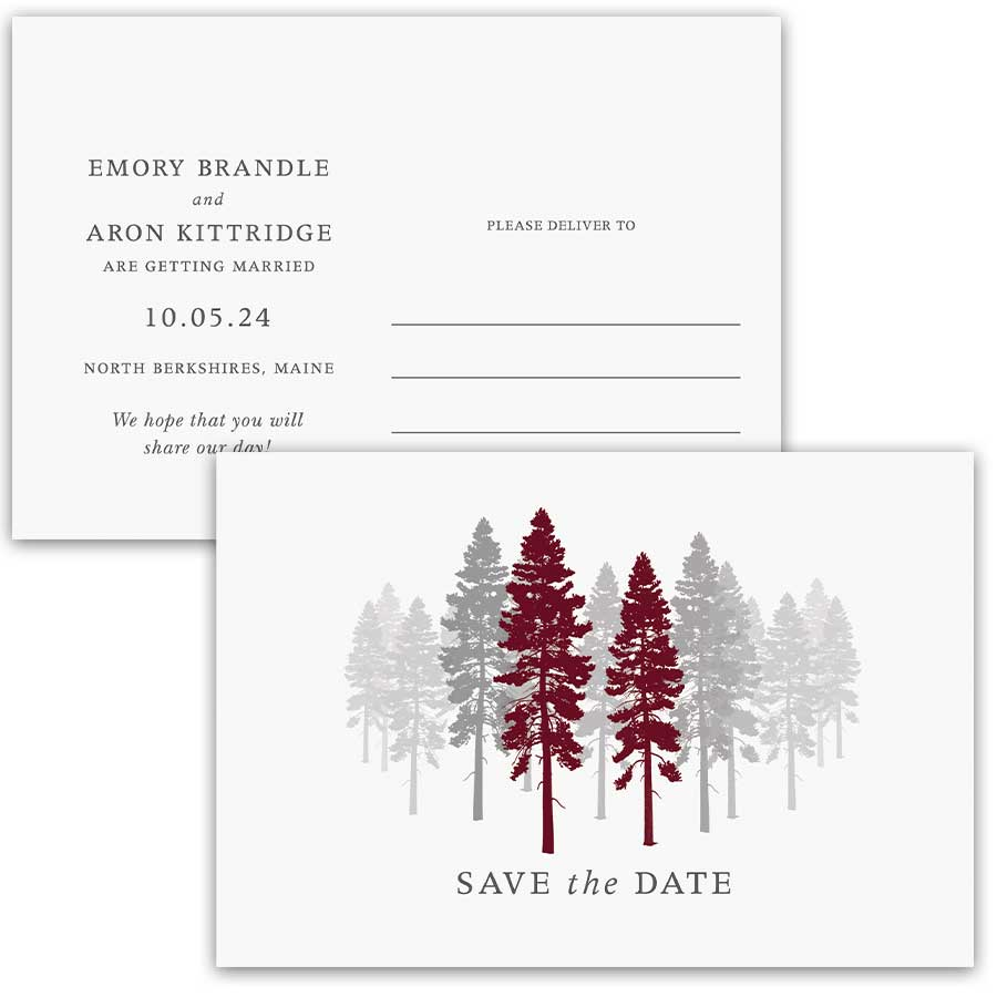 Wedding Save the Date Fall Tree Silhouettes
