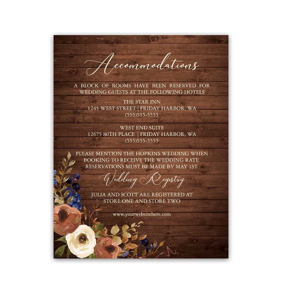 Fall Wedding Invitation Details Insert